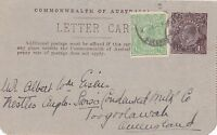 DB339) 1.5d KGV Brown card uprated with halfpenny green