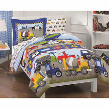 5 pc TRUCKS CARS BOATS BLUE COMFORTER CONSTRUCTION BOYS COMFORTER SET TWIN NEW!!