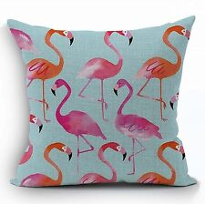 "Flamingo Bird Blue Pink 17"" Square Cushion Cover Pillow Case Home Decor Gift"