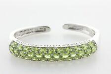 "Sterling Silver 925 Multi-Row Peridot Stone Beauty Hinged Cuff Bracelet - 7"""