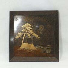 C167: Japanese really old lacquer ware tray with very good MAKIE and NASHIJI 2/2
