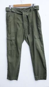BNWT NEXT Ladies Khaki Green Soft Touch Belted Cargo Trousers size UK 12 RRP £32