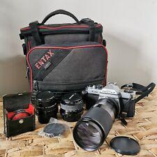 Pentax K1000 Bundle Camera SLR, 3x Lenses, Bag, Accessories, Tested Working