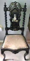 Rare Unique 1840 Antique Italian Renaissance Revival Inlay Ebonized Back Chair