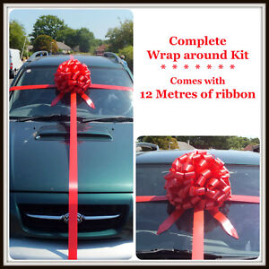 Giant Car Bow  COMPLETE WRAP AROUND KIT with 12 Metres of ribbon.. ALL COLOURS