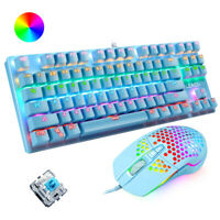 Wired RGB Mechanical Gaming Keyboard and Mouse Set Blue Switch for Game or work