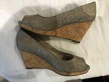 Tamaris Size 37 Gold Glitter Peep Toe Wedge Heels