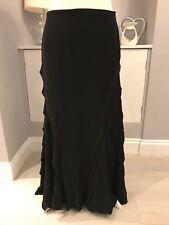 M&S Per Una Black Ruffle Long A-line Maxi Skirt Size 10