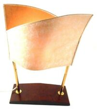 Ikea Vintage Small Abstract Lamp Wooden Base Beige White Shade