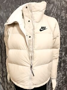 NIKE GOOSE DOWN FILL PUFFER JACKET COAT IVORY WOMEN'S SIZE S LOOSE FIT