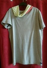 Emily Sharp Mens Hooded T-shirt, grey, salmon pink and stripe. X- Large