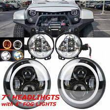 "7"" Halo LED Hi/Lo Headlight & 4''Fog Lights For Jeep Wrangler White Super Bright"