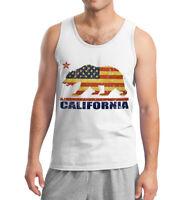 Men's American Cali Bear Flag White Tank Top California Republic USA Cali life