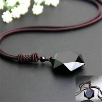 segen schwarz männer schmuck halskette obsidian anhänger amulet hexagramm form