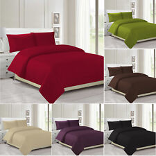 Plain Duvet Cover & Pillowcase Reversible Bedding Set OR Fitted Sheet