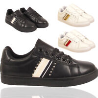 LADIES TRAINERS LEATHER DIAMANTE PUMPS SNEAKERS SPORTS SHOES SIZE UK 3 4 5 6 7 8