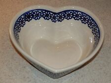 "BOLESLAWIEC POTTERY POLAND HEART SHAPED BAKING DISH OR BOWL 6 1/4"" BLUE FLORALS"