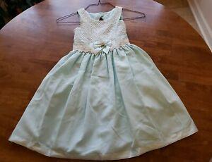 Bonnie Jean Girls Aqua Lace Bodice Sleeveless Party Dress Size 7