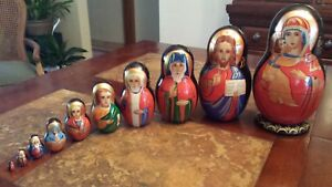 Hand Painted and Signed Russian Orthodox Nesting Doll Set 10 Gorgeous Pieces!!