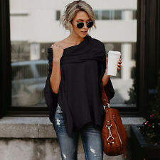 New Womens Off Shoulder Irregular Sweater Cloak Poncho Pullover Top Shirt Blouse
