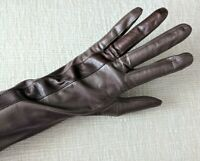 Vintage Anne Klein Women's Brown Leather Driving Gloves, Sz 7.5, Elbow Length