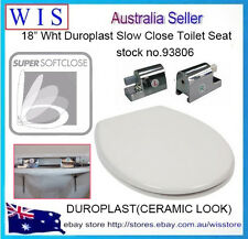 "18"" Duroplast Soft Close Toilet Seat w Zinc Alloy Hinge,Ceramic Look,White-93806"