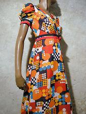 Vintage Chic Long Dress 1970 Vtg Maxi Model Graphic Opart 70s Abito (36/38)