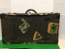 Worn Black Suitcase Luggage Mid Century Antique Briefcase Hawaii Trip Decals