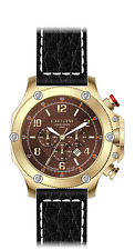 LUXURY CHRONOGRAPH Cavadini Watch Extravagant Gold Plated Boomerang NEW