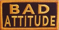 BAD ATTITUDE Embroidered Iron-On Patch Tactical Morale Military Gold Emblem
