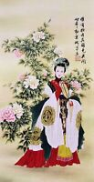 100% ORIENTAL ASIAN ART CHINESE FAMOUS WATERCOLOR PAINTING-Beauty&Peony flowers