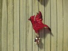 Glass Cardinal Ornament with Pine Cone