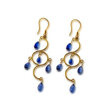 BLUE SAPPHIRE Earrings Drop Long 18k Gold Earrings Crafted with hands