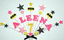 Girl Batman birthday cake topper any name and age (spiderman, superman )