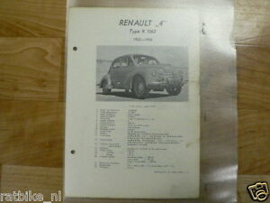 R02-RENAULT 4 TYPE R1062 1952-1955 -TECHNICAL INFO VINTAGE CAR SEDAN