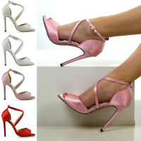 Womens Ankle Strap Stiletto Heel Sandals Ladies Satin Buckle Bridal Party Shoes