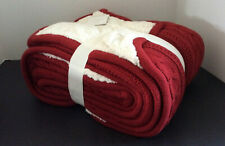 Pottery Barn Cozy Cable Knit Cardinal Red Throw Reversible Very Soft~New