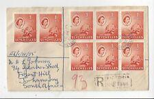 Seychelles 1955 Registered Cover to England, 3c Tortoise x 13