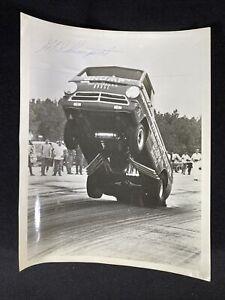 1960's SIGNED G.E. Shumpert Thunder Wagon 10x8 Autographed Photo Drag Racing