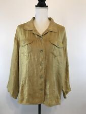 Chicos Jacket Gold Crinkle Look Metallic Button Front Sz 3