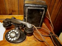 vintage MODEL 202 WESTERN ELECTRIC TELEPHONE w/ RINGER BOX 4H dial