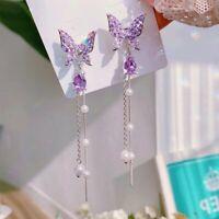 Sweet Shiny Rhinestone Butterfly Earrings Long Pearl Chain Tassel Drop Dangle