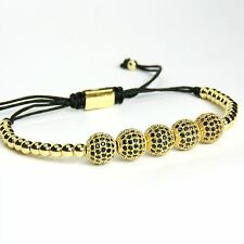 Men And Women Beads Bracelet 5 Balls Inlaid Black Crystal 24k Yellow Gold Plated