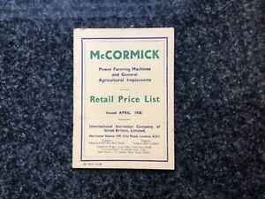 McCormick Power Farming Machines Booklet Retail Price List 1938 Fine