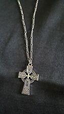 Antique Silver tone Celtic Cross necklace 18 inch figaro chain