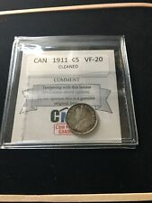 1911  Coin Mart Graded Canadian,  ¢5 Cent, **VF-20 Cleaned**