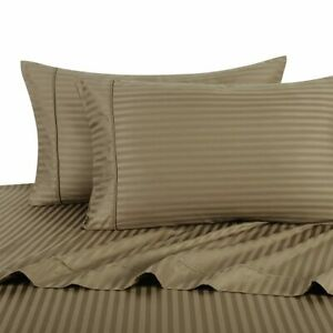 """300 TC Taupe Olympic Queen Sateen Stripe 18"""" Deep Pocket Sheet Sets"""