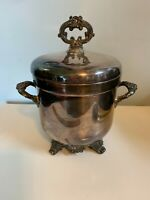 Vintage Silver plate F B Rogers 6699 white glass lined ice bucket double handles