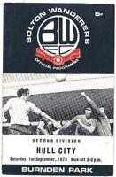 Bolton Wanderers v Hull City 1973/4 (1 Sep)