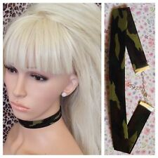 CAMOUFLAGE ARMY CAMO COTTON FABRIC CHOKER NECKLACE 2cm WIDE METAL CHAIN RETRO